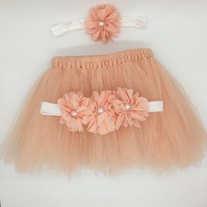 🌸 Newborn Peach Tutu Set, Photography Prop 🌸